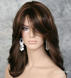 Trends Sexy Women Wig Mix Brown Highlighting Medium Wavy Synthetic Hair for sale online Hairstyles With Bangs, Cool Hairstyles, Updo Hairstyle, Bride Hairstyles, Hairstyle Ideas, Haircuts, Medium Hair Styles, Curly Hair Styles, Hair Color Highlights