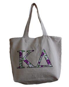 Kappa Delta Flowers Tote by Adam Block Design | Custom Greek Apparel & Sorority Clothes | www.adamblockdesign.com