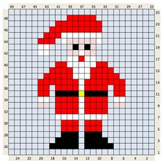 Christmas Crochet Charts - The Crafty Co Small Cross Stitch, Cross Stitch Cards, Cross Stitch Kits, Cross Stitching, Cross Stitch Patterns, Quilt Patterns, Santa Cross Stitch, Christmas Knitting, Christmas Cross