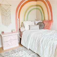 Did you know we have our own PAINT COLLECTION?? We've always said that paint is all you really need to transform a space. Get started with one of our 26 colors. BTW, how cute is this hand-painted muted rainbow mural from @hampton_house6?! See the whole room in our project gallery at projectnursery.com/projects. 💛 🌈 Whimsical Bedroom, Baby Nursery Closet, Project Nursery, Nursery Ideas, Bedroom Ideas, Big Girl Rooms, Kids Rooms, Baby Room Decor, Kid Spaces