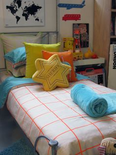 Neon Orange and Turquoise are your up-dated and much more funky version of red and navy. Orange And Turquoise, Premium Brands, Linen Bedding, Toddlers, Duvet Covers, Bedrooms, Neon, Throw Pillows, Babies