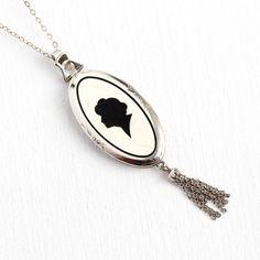 c0c5b1bf1 Art Deco Locket - Antique Sterling Silver Oval Black Enamel Pendant  Necklace - Vintage 1920s Female Silhouette Flapper Cameo Tassel Jewelry