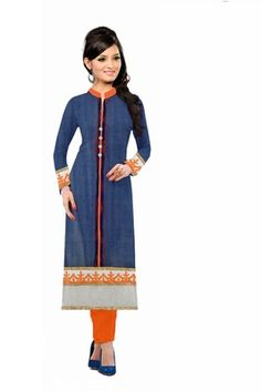 Blue embroidered net party-wear-kurtis    Blue Kurtis, blue color kurtis, royal blue colour kurtis, blue Kurtis online, blue kurti Party Wear Kurtis, Shops, India, Clothes For Women, Awesome, How To Wear, Blue, Beautiful, Color