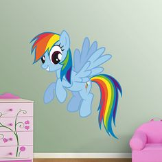 Rainbow Dash REAL.BIG. Fathead – Peel & Stick Wall Graphic | My Little Pony Wall Decal | Kids Decor | Bedroom/Playroom/Nursery