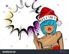 Vector illustration isolated halftone popart wow face. Dare girl in red dress hold hand bengal fire, sparkler empty comic text speech bubble. Marry Christmas young beautiful pop art woman pompom hat.