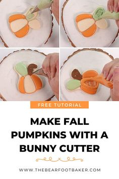 Are you looking for an easy pumpkin cookie to make this fall or Halloween? Try these beautiful and elegant pumpkin cookies! They are made with a bunny cookie cutter, which is sometimes easier to find than a pumpkin cutter. These pumpkin cookies make a beautiful addition to a fall cookie platter, a Halloween party, or as a fun treat to make with your kids! #thebearfootbaker #halloweencookies #halloween #pumpkincookies Fall Cookies, Pumpkin Cookies, A Pumpkin, Sugar Cookies, Halloween Goodies, Halloween Treats, Halloween Party, Halloween Decorations, Fall Pumpkins
