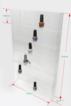 1 High Gloss Acrylic Wall Mounted 6 x 10 Nail Polish Display Rack ANPR25C-060