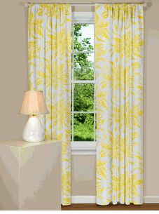 Floral Curtains With Teal Gray Yellow On White Perfect For The