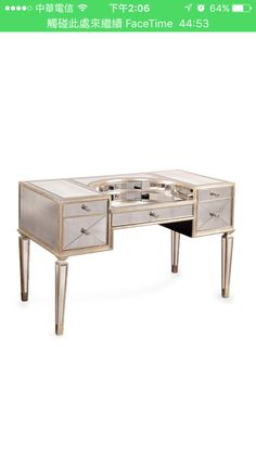 Love the mirror desk with a little bit of gold shade