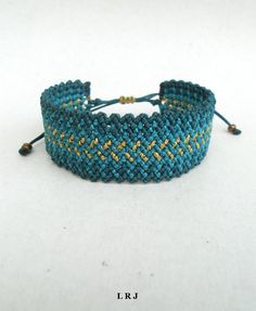 Pine green,petrol blue and gold,Macrame wavy cuff bracelet,Adjustable,Makrame wristband,Ethnic,Gypsy,Zig zag,Handmade waxed fiber jewelry