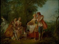 Pastoral Party - Nicolas Lancret - The Athenaeum Francisco Goya, French Rococo, Rococo Style, Rococo Painting, Jean Antoine Watteau, Art Ancien, Painted Cottage, Jean Baptiste, Fine Art Auctions