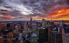 The sky is on fire taken from the Rockefeller Center by Charles Schrader Photoartist @dudeofphoto | newyork newyorkcity newyorkcityfeelings nyc brooklyn queens the bronx staten island manhattan