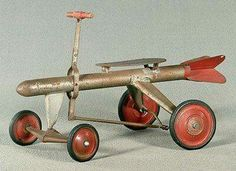 Super Rocket hand car, operate by pulling/pushing steering rod 21 x 19 x (so cool. Pedal Tractor, Pedal Cars, Retro Toys, Vintage Toys, Soap Boxes, Kids Ride On, Tin Toys, Antique Toys, Cool Toys