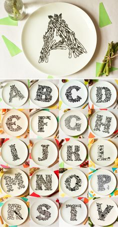 foody alphabet plates....Order of Today....Bring one plate of each   M U K U N D .....hey its my name and looks like foody plate for foody like me.