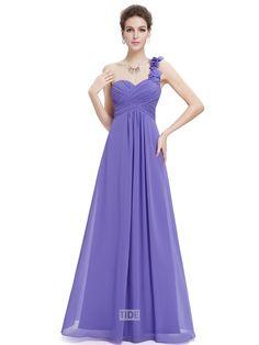 Elegant One Shoulder Empire Waist Pretty Long Cheap Chiffon Bridesmaid Dress Prom Dress
