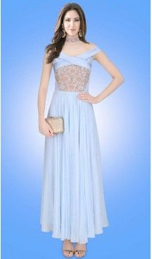 Party Wear Readymade Gown In Crepe Silk Sky Blue Color | FH524379383 #gowns , #designer , #womens , #wedding , #evening , #party , @heenastyle , #readymade , #online , #fashion , #boutique , #silk , #dress , #indian , #shopping , #ceremony , #heenastyle , #ladies , #wear , #reception , #highfashion , #eveninggowns