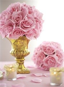 Kissing Ball Centerpieces, Silk Rose Ball Centerpieces, Pink Rose Bridal Shower - Set To Celebrate
