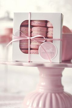Pretty macarons in a box make an awesome gift for dessert lovers :)
