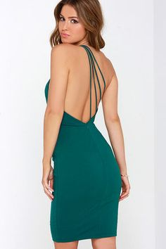 LuLu*s Exclusive! Prepare for compliments left and right when the Making Me Blush One Shoulder Dark Teal Dress makes its debut! Medium-weight stretch knit sweeps across a sexy one shoulder bodice that boasts a strappy open back. The darted bodice flows seamlessly into a bodycon skirt (with a fashionable midi length) for a perfect night-out look! Hidden back zipper. Fully lined. 65% Rayon, 30% Nylon, 5% Spandex. Hand Wash Cold. Made With Love in the U.S.A.