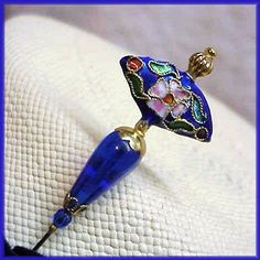COBALT BLUE CLOISONNE Gold Finish HATPIN Pin Card, Love Hat, Stick Pins, Hat Hairstyles, Sewing Accessories, Hat Pins, Pin Cushions, Cobalt Blue, Belly Button Rings