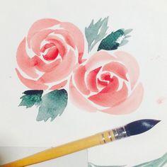 26 Best Ideas For Watercolor Art Easy Rose Watercolor Painting Techniques, Easy Watercolor, Watercolor Artists, Watercolor Cards, Floral Watercolor, Watercolor Paintings, Watercolor Flowers Tutorial, Watercolors, Flower Art