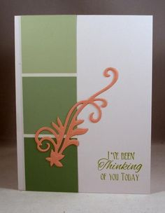 handmade card: CAS265 Sage and Pink ... color blocking using paint chips in shades of olive ...