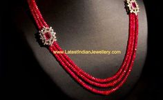 Ruby Beads Necklace Or just the simplicity of 3 strands and two pretty flowers Pearl Necklace Designs, Beaded Jewelry Designs, Gold Jewellery Design, Bead Jewellery, Jewelry Patterns, Jewelery, Diamond Jewellery, Ruby Necklace, Designer Jewellery