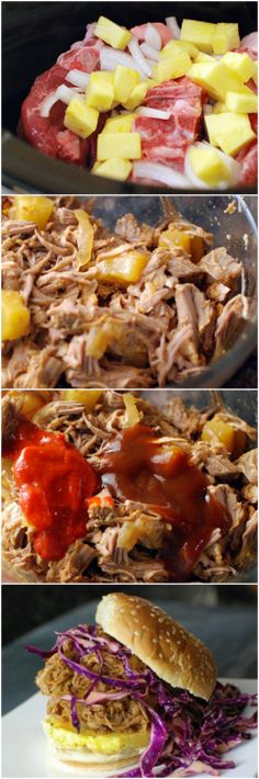 Spicy Pineapple Pulled Pork Recipe ~ A spicy, sweet shredded pork sandwich made in the slow cooker and served with a crunchy cool cabbage slaw.