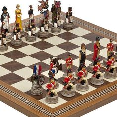 Hand Painted Napoleon  The Duke of Wellington Chessmen  Fulton Street Chess Board From Spain ** Details can be found by clicking on the image.