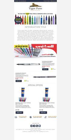 Tiger Pens newsletter e-mail design