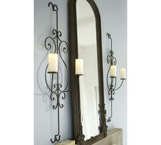 Could these sconces go alongside our big picture window on the landing? Wall Mounted Candle Holders, Candle Sconces, Above Fireplace Decor, Iron Wall, Pottery Barn, Interior Inspiration, Decorative Items, Wall Art Decor, Sweet Home