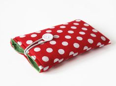 iPhone 5S bag red dotted case fabric cover bags by nelesprengel, €14.70