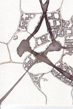 black watercolor map