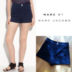 """Marc by Marc Jacobs high waisted shorts Like new Marc By Marc Jacobs high waisted shorts. Easily dressed up or down, these will quickly become a go-to item in your closet! Approx 14"""" waist to hem. Waist is 15"""" laying flat, meant to fit at natural waist. 96% cotton 4% spandex. Size 10 Marc by Marc Jacobs Shorts"""