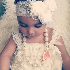 b77a1ed70a6a Gorgeous Luxe Vintage Inspired white lace Headband-BabyGirl satin rosette lace  headband.