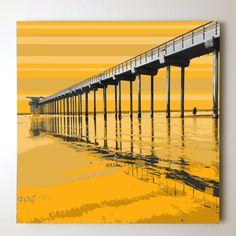 """Gallery: Pop series """"Lovers under the pier"""" 24 X 24 inch, digital art & gel on canvas. --------------------------------------- #art #artist #popart #popartist #digitalart #contemporary #contemporaryart #lajolla #scripps #scrippspier #scrippsbeach #lajollashores #sandiego #california #yellow #sunset #sunrise #summer #surfer #surf #surfing #lovers #jonsavagegallery"""