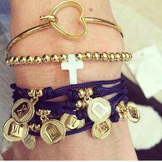Set By Vila Veloni Bracelets Golden And Turquoise Exotic Style Set