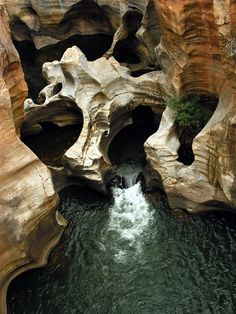 Bourke's Luck Potholes, South Africa. This is the confluence between Blyde River and Treur Rivers where whirlpools produce strange cylindrical-shaped holes in the rock. Photo credit: Livia Comandini