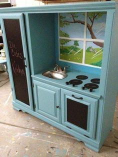 Transformed old entertainment center into Kids Kitchen Set! We love this idea, g… Transformed old entertainment center into a children's kitchen set! We love this idea, great Using a Entertainment center. Diy Kids Kitchen, Kitchen Sets For Kids, Toy Kitchen Set, Kitchen Decor Sets, Diy Kids Furniture, Furniture Projects, Playhouse Furniture, Repurposed Furniture, Childrens Kitchen Sets