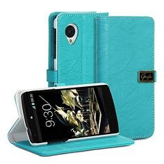 Google Nexus 5 Kickstand Case – Gmyle Leather Wallet Flip Case (Blue)