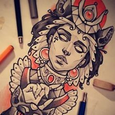 Example of a Cleopatra tattoo that will have her with an Egyptian cat and the eye