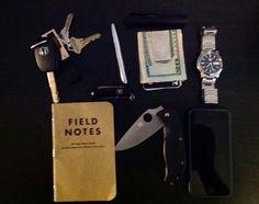 Keys, Fisher Space Pen, Streamlight Flashlight, Money Clip, Seiko Watch, iPhone 5, Spyderco Tenacious, Field Notes  #EDC #everydaycarry