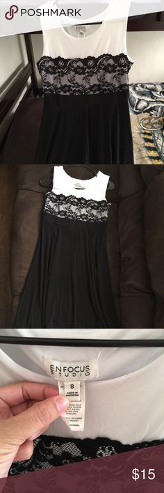 Enfocus studio white and black dress Used Good condition nice to wear in  any occasion ,simple but elegant . All item comes from Smoke Free   Pet Free home 😊 If any question pls don't hesitate to ask. Thanks 😍 Enfocus studio Dresses Mini
