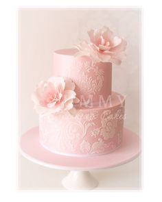 Pale Pink Wedding Cake With Damask Pattern; love the damask pattern, but maybe different size/different flowers...