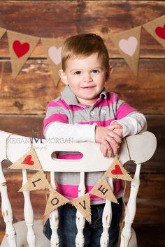 Valentine's Day Mini LOVE Burlap Banner / Photography Prop Banner. $15.00, via Etsy.