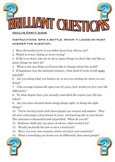A great game to play in a large adult group. This game is perfect for the more sophisticated team. Great questions and a good game to play. www.winning-birthday-party-games.com