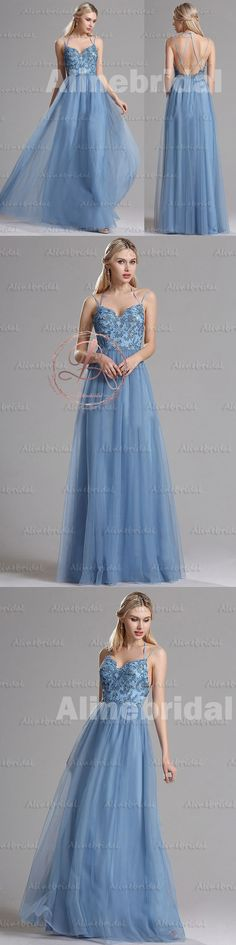 FASHION SKY BLUE SPAGHETTI STRAP CRISS-CROSS BACKLESS FOR TEENS PROM GOWN DRESSES,PD00039