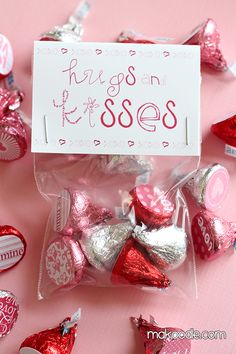 Valentine's Hershey Kisses Labels and Bag Toppers make a cute gift for teachers and Valentine's.  Print on this card stock material http://www.onlinelabels.com/OL267.htm and cut down to size with scissors.