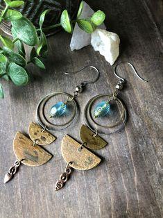 Funky Earrings, Moon Earrings, Girls Earrings, Bead Earrings, Gemstone Earrings, Statement Earrings, Earrings Online, Tribal Earrings, Metal Jewelry Handmade