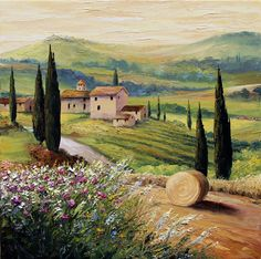 'Under a Tuscan Sun'. By Graham Denison. Easy Landscape Paintings, Cool Paintings, Watercolor Landscape, Beautiful Paintings, Abstract Landscape, Watercolor Art, Tuscan Art, Tuscany Landscape, Italy Painting